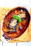Pieczony aubergine parmigiana w reeky wypiekowej cynie Zdjęcie Royalty Free