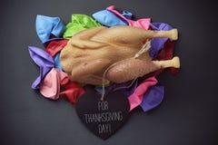 Pieczony indyk i tekst dla dziękczynienie dnia Zdjęcie Stock