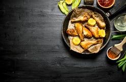 Pieczony kurczak iść na piechotę z kawałkami kukurudza i kumberland Obraz Stock