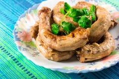 Pieczony kurczak szyje z cebulami i cilantro Fotografia Royalty Free
