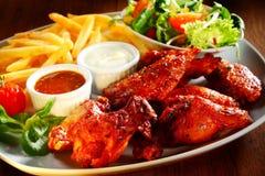 Pieczony Kurczak z kumberlandem, dłoniakami i Veggies, Zdjęcie Stock