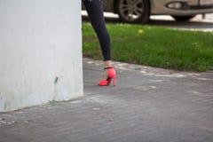 Pied d'une fille avec les chaussures gîtées photographie stock