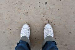 Pied et jambes vus d'en haut Image stock