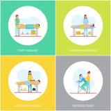 Pied et vecteur arrière abdominal d'ensemble d'icônes de massage illustration libre de droits