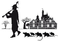 Pied Piper of Hamelin Town with rats. Pied Piper of Hamelin playing clarinet to lure the rats from town. Black and white silhouette of musician and rodents from Stock Photos
