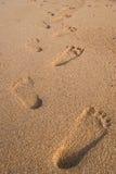 Piede sulla priorità bassa di struttura della sabbia. Fotografia Stock Libera da Diritti