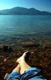 Piede sulla spiaggia Fotografia Stock Libera da Diritti