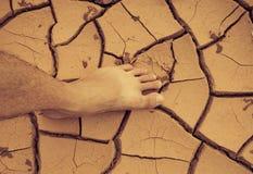 Piede sulla terra della crepa Fotografia Stock Libera da Diritti