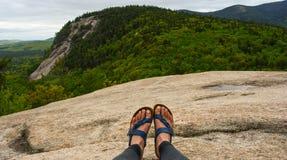 Piedi che trascurano punto di vista sopra la foresta sempreverde in legno di New Hampshire Immagini Stock