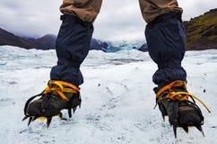 Piedi del ` s dell'alpinista con i ramponi sul ghiacciaio congelato, Vatnajokull Fotografia Stock Libera da Diritti