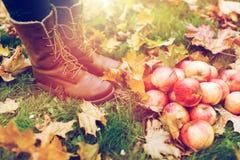 Piedi della donna in stivali con le mele e le foglie di autunno Fotografia Stock