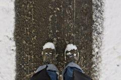 Piedi dello Snowy Fotografia Stock