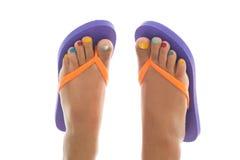Piedi di estate con i Flip-flop Immagine Stock Libera da Diritti