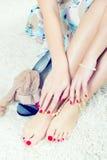 Piedi e mani di Glamor Fotografia Stock Libera da Diritti