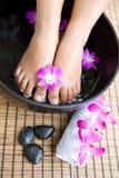 Piedi femminili nell'arco della stazione termale del piede Fotografia Stock Libera da Diritti