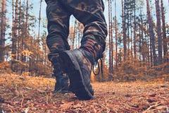 Piedi nella foresta di autunno delle scarpe Fotografie Stock Libere da Diritti