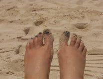 Piedi in sabbia Immagini Stock Libere da Diritti