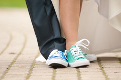 Piedi in scarpe di palestra Fotografia Stock