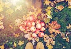 Piedi in stivali con le mele e le foglie di autunno Immagini Stock