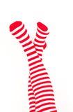 Piedini della donna a colori i calzini di colore rosso Immagine Stock Libera da Diritti