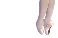 Piedini di balletto isolati su bianco Fotografie Stock Libere da Diritti