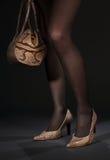 Piedini lunghi in pattini dello snakeskin con la borsa immagini stock