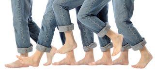 Piedini a piedi nudi nel movimento Fotografia Stock
