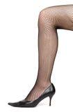 Piedino della donna con le calze Fotografia Stock