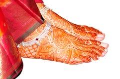 Piedino nuziale indiano con hennè Immagini Stock