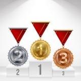 Piedistallo con oro, argento, vettore delle medaglie di bronzo E Numero uno… primo, secondo, terzo risultato di disposizione illustrazione vettoriale