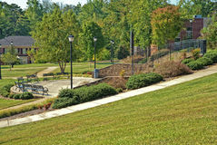Piedmont College Outdoor Landscape Area. A view of buildings and a beautiful outdoor seating area on the campus of Piedmont College in north Georgia. June 30 royalty free stock photography