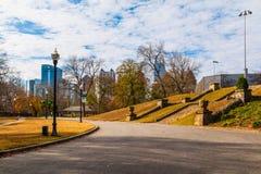 Piedmont park and Midtown Atlanta, USA. View of Midtown Atlanta and the Piedmont park with stairs to the basketball court, USA Stock Image