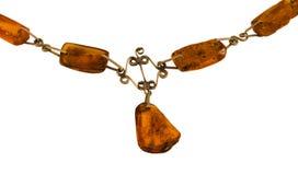 Piedra ambarina del oro del cuello del collar de la parte aislada Fotografía de archivo libre de regalías