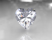 Piedra blanca brillante del diamante de la dimensión de una variable del corazón Fotografía de archivo