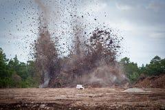 Piedra caliza de voladura en un quarry.GN Foto de archivo