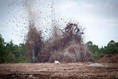 Piedra caliza de voladura en un quarry.GN imagen de archivo libre de regalías
