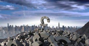 Piedra concreta quebrada con símbolo de la libra del dinero en paisaje urbano stock de ilustración