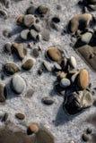 Piedra congelada en la playa de la costa oeste Fotos de archivo libres de regalías