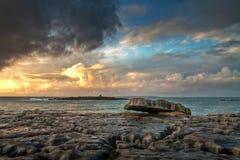 Piedra de Burren en la puesta del sol Fotos de archivo