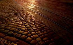 Piedra de pavimentación en el amanecer, fondo imagen de archivo