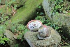 Piedra del gato alrededor abajo de la ciudad en Onomichi Japón Imagen de archivo libre de regalías