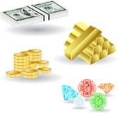 Piedra del oro del dólar del dinero Imagen de archivo