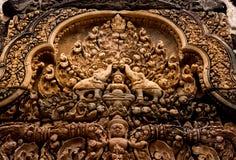 Piedra del templo de Banteay Srei tallada Foto de archivo libre de regalías