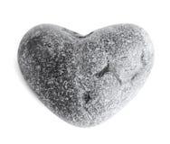 Piedra en forma de corazón del mar (guijarro) en blanco Foto de archivo libre de regalías