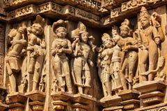 Piedra famosa que talla esculturas de Khajuraho foto de archivo