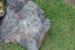 Piedra grande en la hierba Imagenes de archivo