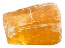 Piedra mineral de la calcita anaranjada aislada en blanco Fotografía de archivo libre de regalías