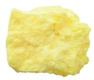 Piedra mineral del azufre aislada en blanco Imagen de archivo