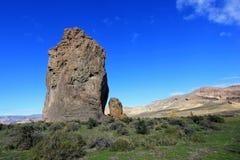 Piedra Parada monolit i den Chubut dalen, Argentina Royaltyfri Fotografi