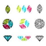 Piedra preciosa abstracta Logo Design Set Fotografía de archivo